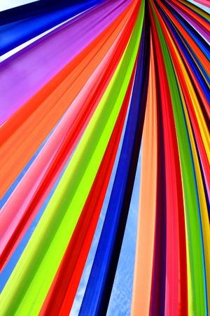 Multi-colored cloth tied together