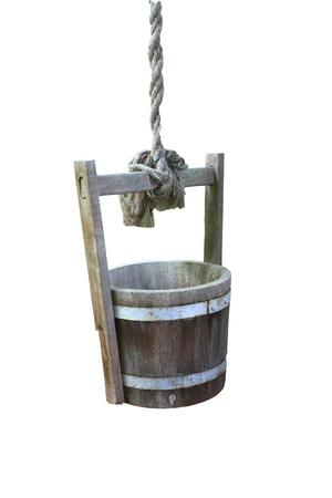 emmer water: Trekken water vaten een witte achtergrond Stockfoto