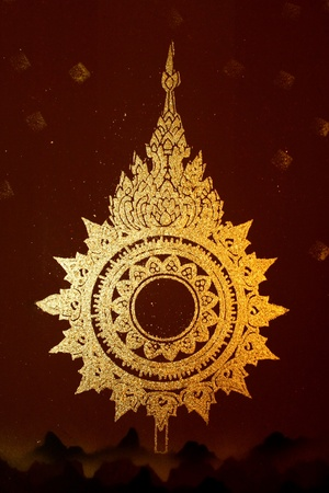 thai art gold painting pattern on wall photo