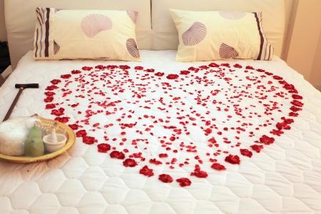 romantico: Coraz�n en un lecho de rosas Foto de archivo