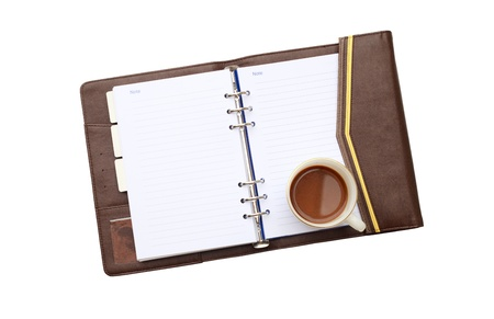 Coffee with notebook isolated background white photo