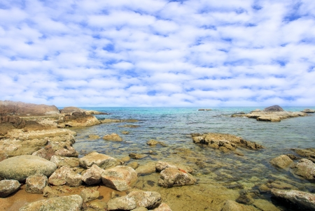 Coastal sea. Rocks under the water and fish photo