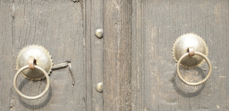 Chinese old wooden door  The handle is steel ring photo