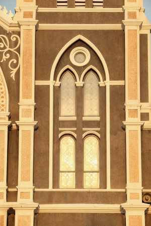 window church evening sunlight gold chanthaburi province in thailand photo