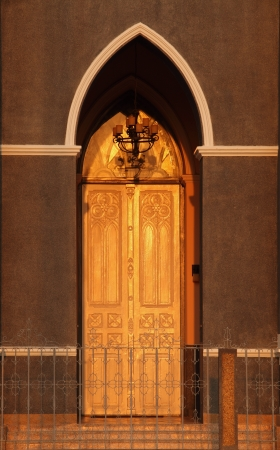 gate church evening sunlight gold chanthaburi province in thailand photo