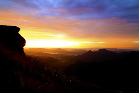 viewpoint phu chi fa mountain silhouette Province Chiang rai Thailand Stock Photo - 18153523