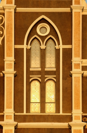 window church evening sunlight gold chanthaburi province in thailand photo