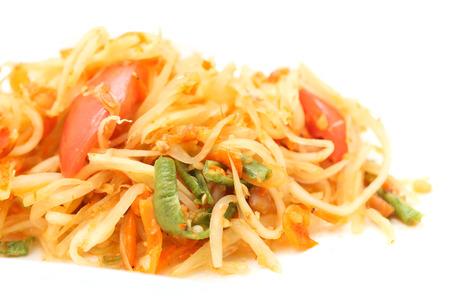 green papaya salad: green papaya salad  spicy isolated on white background