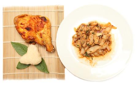 cuisine spicy pork salad papaya salad roast chicken isolated on white background photo