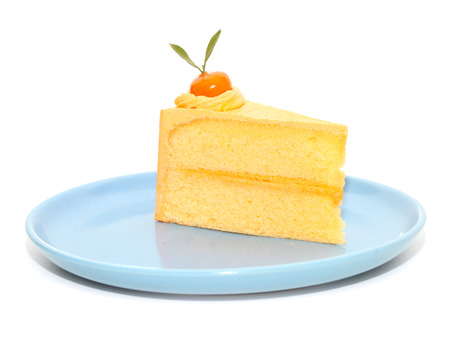 cake orange are piece place on plate isolated white background