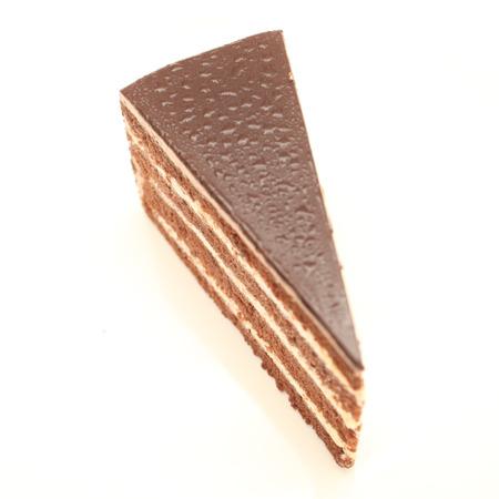 custard slice: Beautiful tasty chocolate cake close up isolated on white background