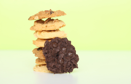 sweet cookie several place sort isolated on green background