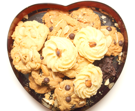 sweet cookie in box heart black Stock Photo