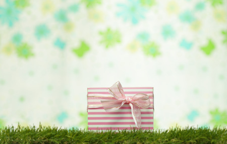 Gift box resting on grass background pin flowers Stock Photo