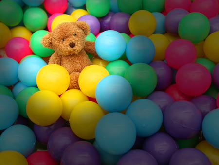 ball  small many color number much and doll bear brown