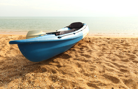 Canoeing park on the beach by the sea. Stock Photo