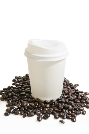 paper cup: paper cup and coffee bean isolate white background