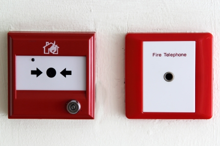 Fire alarm box on the wall photo