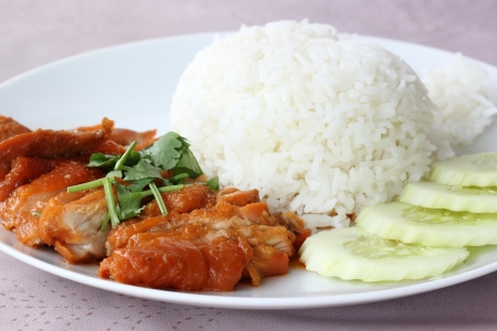 Roast Chicken with rice in Chinese Style  photo