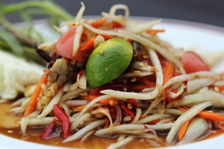 papaya salad with horse crab  photo