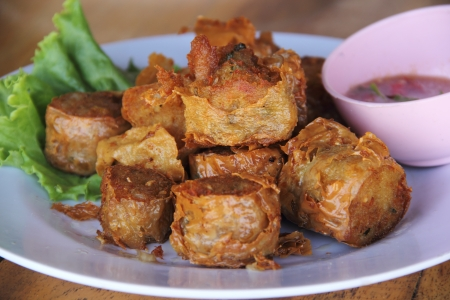 Chinese style deep fried crab meat roll cake