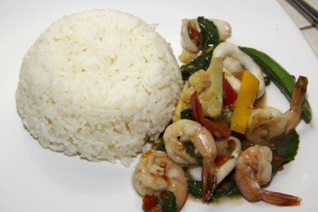 Thai rice with seafood spicy photo
