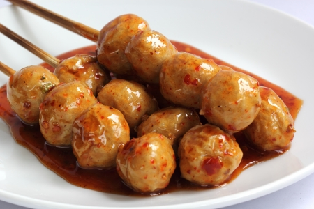 Grilled Beef Ball Thai Style grilled Beef Ball with sweet and sour sauce
