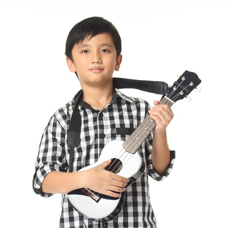 fop: Boy Child With Guitar Music Playing on White Background