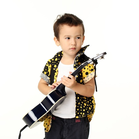 Cute Boy with Guitar Music Playing on White Background Stock Photo