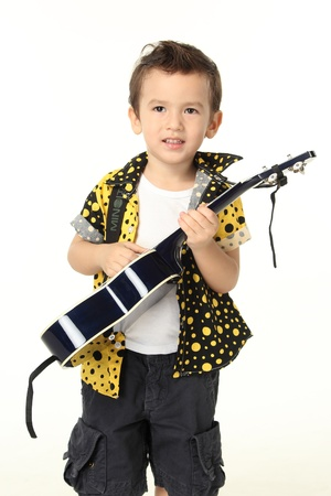 Cute Boy with Guitar Music Playing on White Background photo