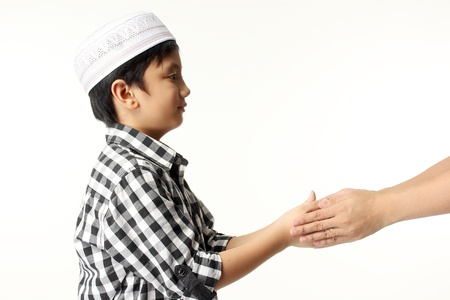 islamic pray: Islamic pray explanation  Asian child showing complete Muslim movements while praying