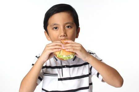 Hamburger and The Boy   The boy eating a hamburger  Isolated on a white background  photo