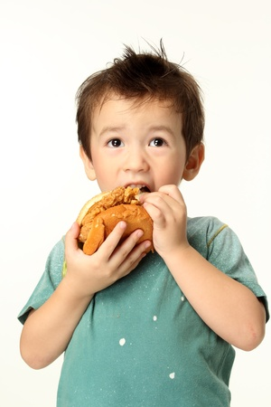 The little boy eating a hamburger The boy eating a hamburger  Selective focus on a hamburger  Isolated on a white background   photo