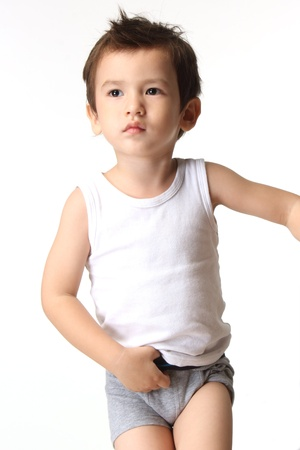 Little boy prepare to bathroom   isolated over white   photo