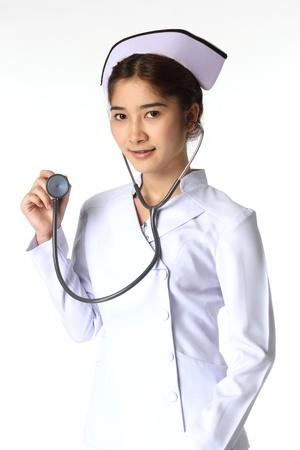 Nurse holding a stethoscope  photo