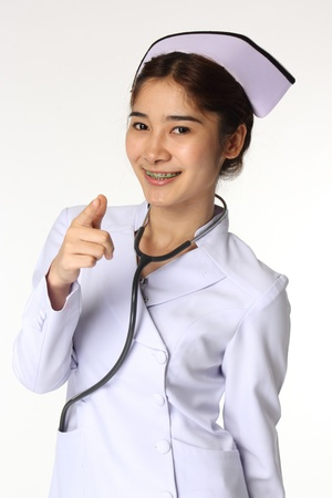 Nurse with a stethoscope on a white isolated background  photo