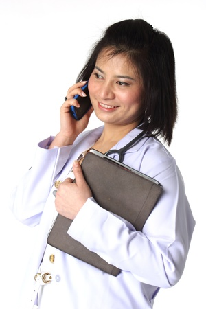 Female doctor holding Tablet and Mobile phone  photo