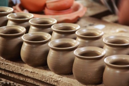 Many clay cups kept for drying