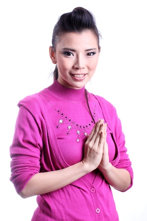Thai woman welcome expression Sawasdee   photo