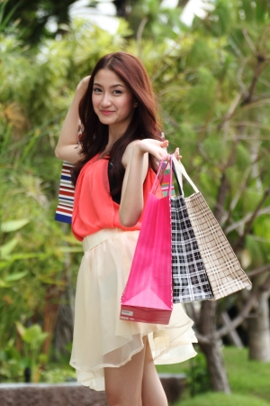 Cute woman shopping  photo