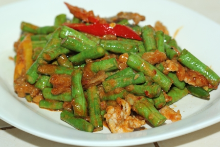 Stir Fired Green Bean with Chili Paste  Pad Prik King    Stock Photo - 21802920