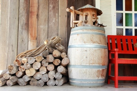Wooden drum and logs  photo