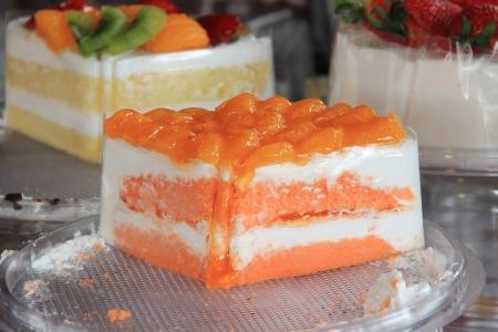 orange cake: orange cake slice fro the market Stock Photo