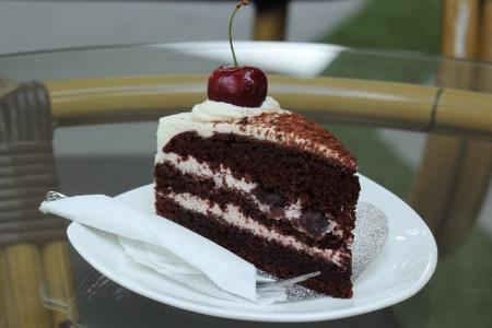 Black Forest Cake on the plate photo