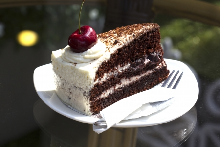 Black Forest Cake on the glass table photo