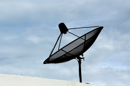 bandwith: satellite dish accented in Blue sky