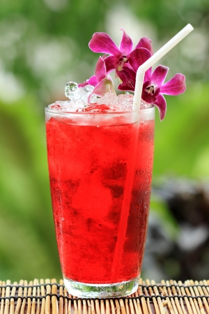 Iced roselle juice  Thai culture soft drink photo