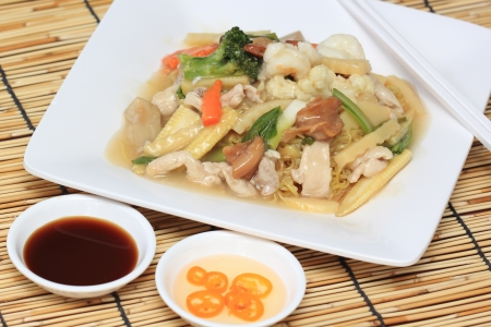 Stir fried yellow noodle with in a creamy gravy sauce (Koy Se Mie)  photo