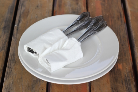 Place setting for dinner in a restaurant  photo