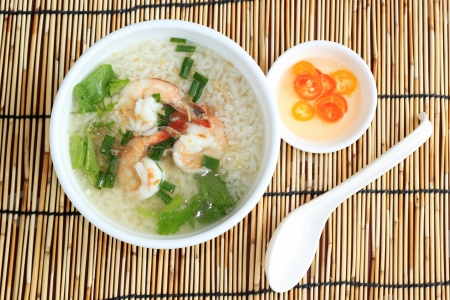 Thai boiled rice with shrimp for breakfast